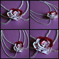 Bloody White Rose Necklace by GoldenDaffadowndilly