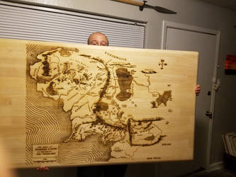 Laser Etched Map of Middle Earth by stormelemental13