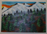 icy forest acrylic painting  by bluthe1st