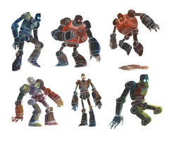 Watercolour Robots 2 by Duffzilla