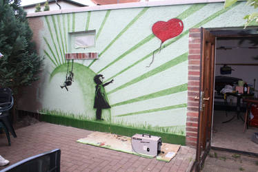 banksy inspirated wall design by pako214