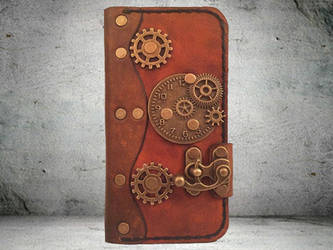 iPhone 6/6S Brown Leather Folio Wallet Case by PapyrusCrafts