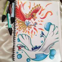 Pokemon ~ Ho oh | Lugia by Aimss-Art