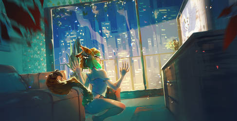 Cities over the windows by Marghy-Art