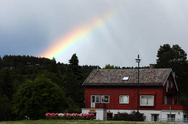 Norway: Rainbow above cottage by RivalCz