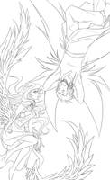 Lineart : Siren and Sylph by Zue