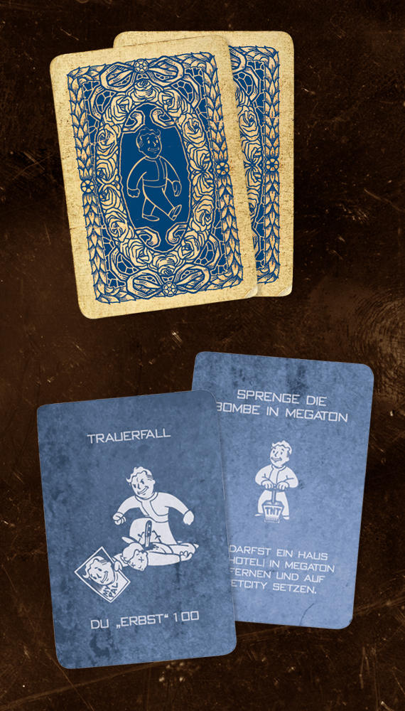 Fallout Monopoly blue cards by PinkAxolotl