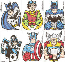 Sketch Cards_DCMarvel Mix by DougDraw