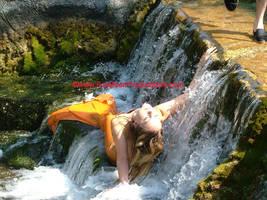 Goldie Mermaid in the Falls. by FoxmoonMerfolk