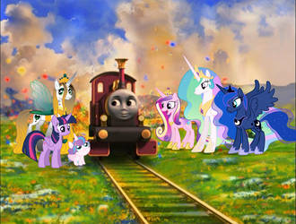 A Magical Engine And Her Six Pony Friends by ThomasandMLPPerson