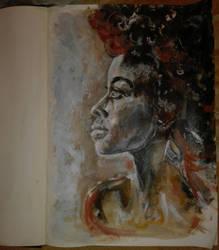 Sketchbook acrylic portrait by Esdah