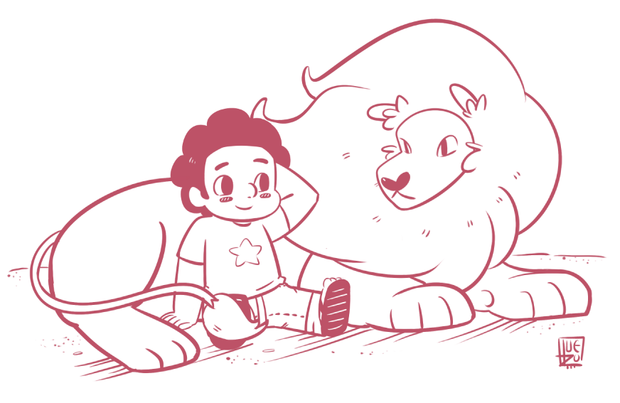 Steven and Lion (Sorry for not being here~) Guess my new obsession <3 I love Pearl btw Lion looks so fluffy <3