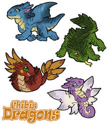 Chibis dragons by TeaDarkA