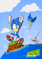 Sonic's free fall by GeorgeRottkamp