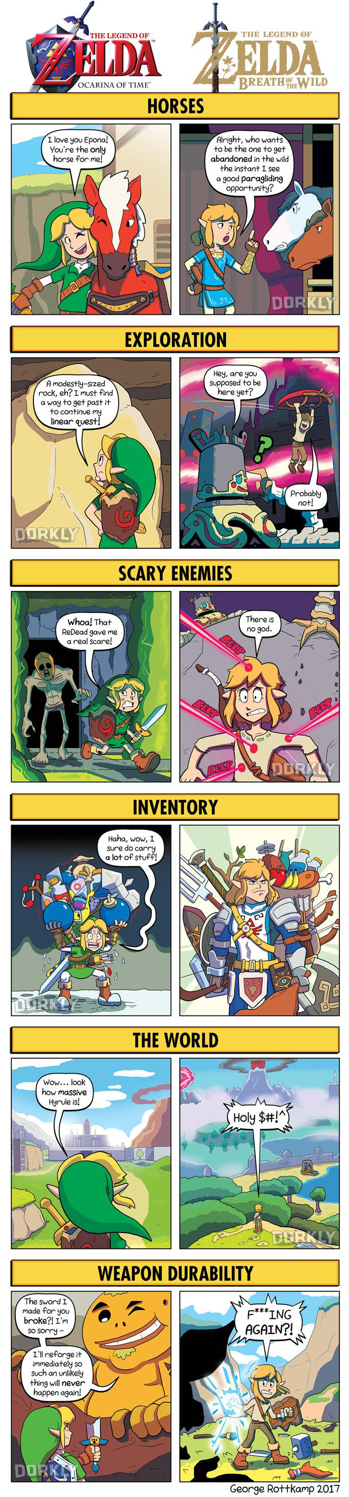 DORKLY: Ocarina of Time vs. Breath of the Wild by GeorgeRottkamp