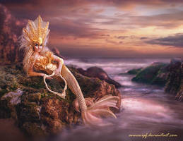 Sunset Mermaid - Pink version by annewipf