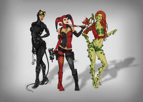 Gotham City Sirens redesign by CyanSoul