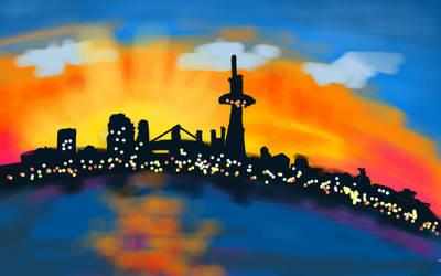 CITYSCAPE AT SUNSET by ChaniCthau