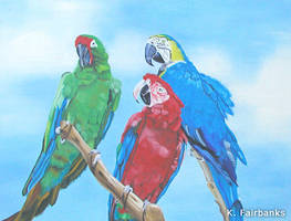 Parrots (Oil Painting) by eyeqandy