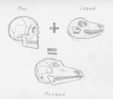 Anthro-lizard skull by inejwstine