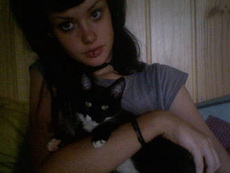 my cat Bean and i by AlicesLookingGlass