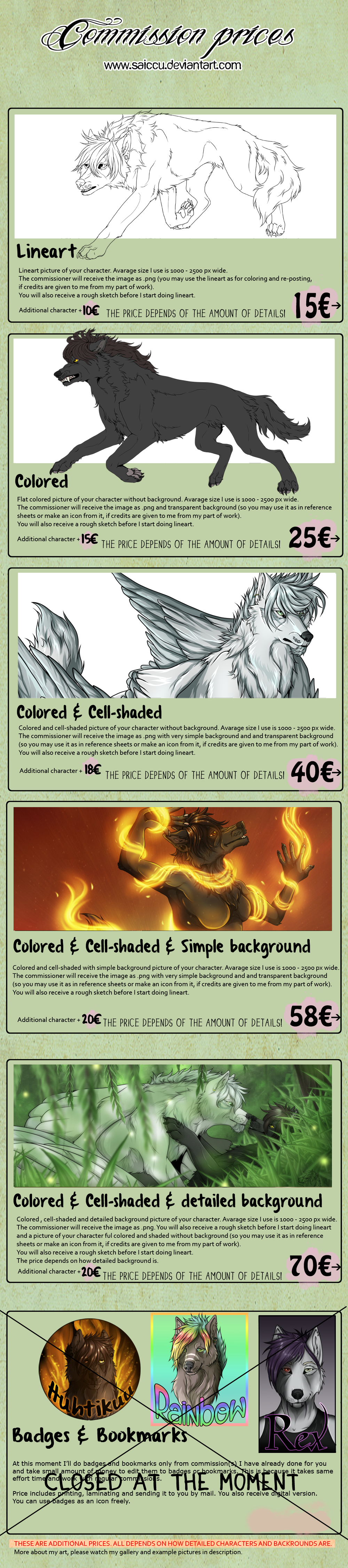 Commission pricelist and info - updated 2.5.2018 by Saiccu