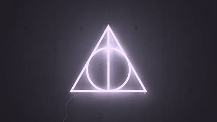 Deathly hallows Neon Wallpaper (1366x768) by Karin333