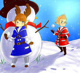 FFXIV: Lalafell snowball fight by beamer