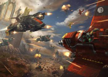 blacktemplars aircraft vs ork aircraft by LieSetiawan