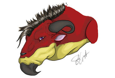 This cow dragon is red by SparrowSin