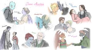 Jane Austen Gargoyles by Nebulan