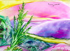 Blue Dune - Encaustic by Villa-Chinchilla