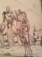 A man and his robots by Lambda-fallout125