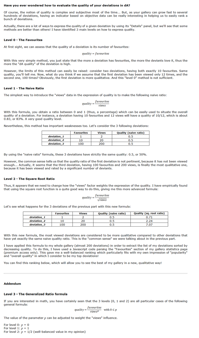How to evaluate the quality of your deviations? by Oaken-shield