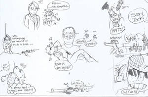 He's Here BLOOPERS doodles 2 by DevennaSori
