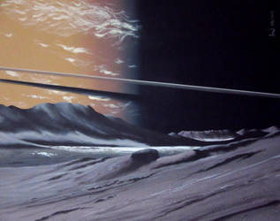 Saturn as seen from Epimetheus by Axel-Astro-Art