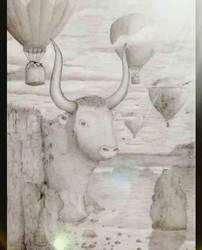 bull latched onto cliffside by ArtByRandy