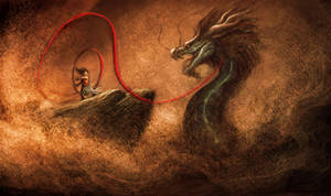 Nezha fight the dragon by basara1988
