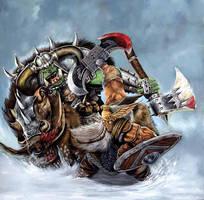 Dwarf v Orc by jimbradyart