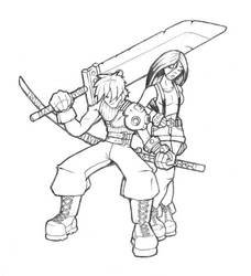 Cloud and Tifa Pencils by A-C-K
