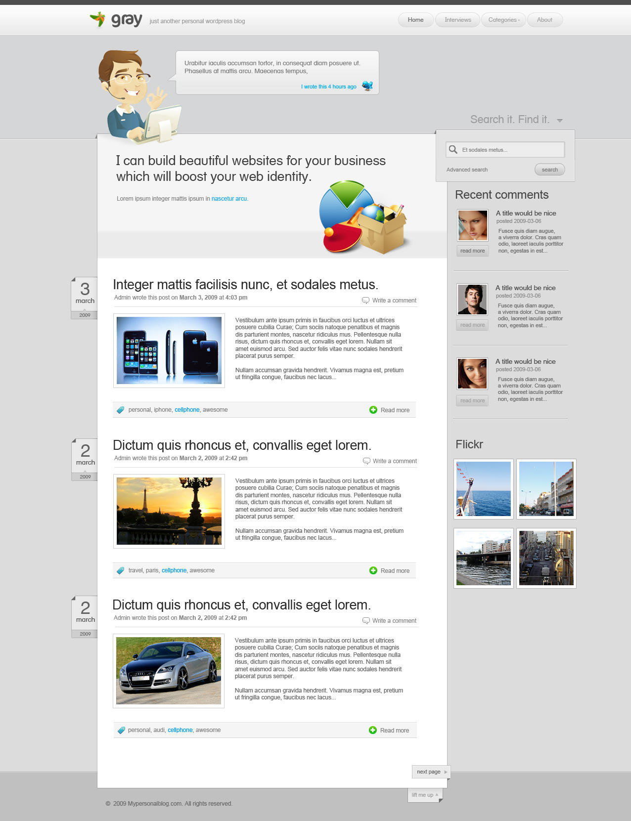 Simple Wordpress theme by yehsper