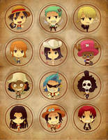 One piece badges by Sobachan