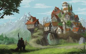 village on a rock by maddendd