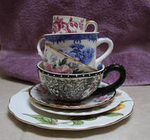 Stacked Tea Cups IV by GreenEyezz-stock