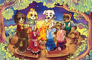 Animal Crossing Campfire by Snorechu