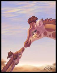 Giraffe Kiss by DolphyDolphiana