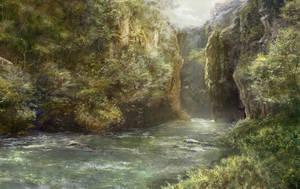 sunlit riverbed by meiwren