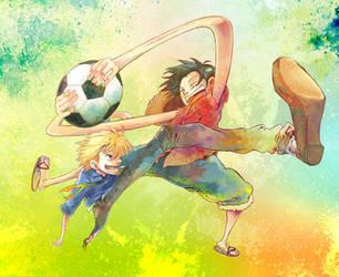 luffy + sanji by meiwren