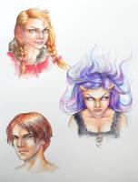 Prize portraits - Charlotte, Kaiyami, Federico by LauraPex