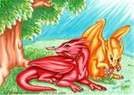 Baby Dragons Exploring Nature by Jianre-M